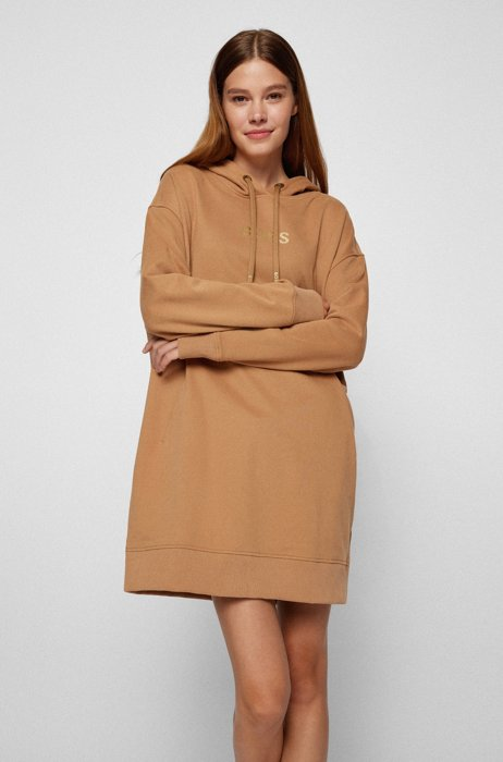 Oversized-fit sweatshirt with gold-effect logo, Light Brown