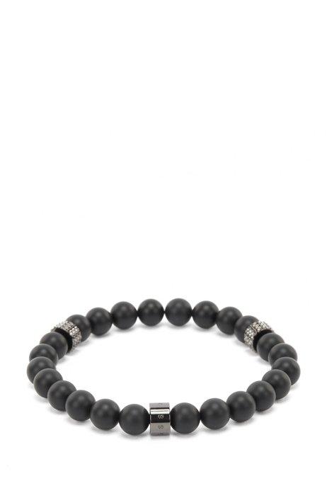 Armband mit Achat-Perlen und Metallelementen, Schwarz
