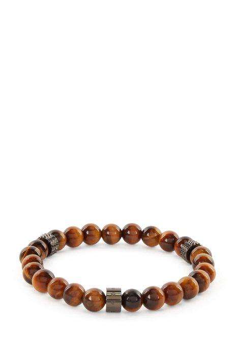 Armband mit Tigerauge-Perlen und metallenen Logo-Elementen, Braun