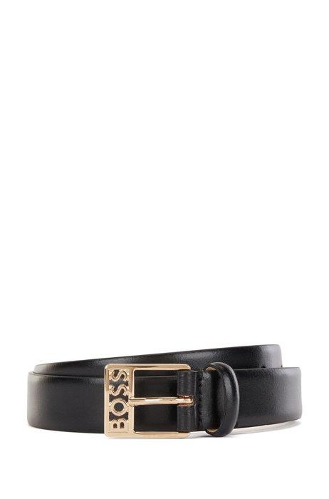 Gürtel aus italienischem Leder mit Logo-Schließe, Schwarz