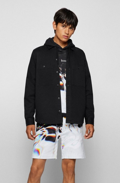 Oversized-fit overshirt in stretch-cotton twill, Black