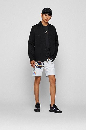 彩色徽标长袖棉质 T 恤,  001_Black
