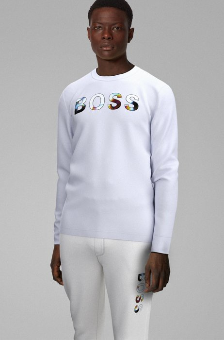 Long-sleeved cotton T-shirt with graphic print by Maxim Zhestkov , White