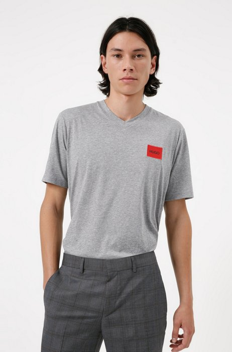 V-neck cotton T-shirt with red logo label, Grey