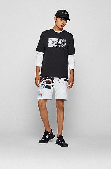 抽象徽标艺术风装饰宽松棉质 T 恤,  001_Black