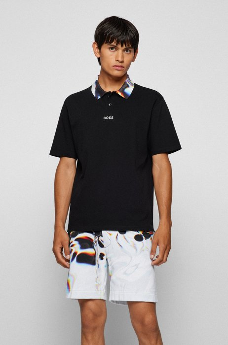 Relaxed-fit polo shirt with printed collar, Black
