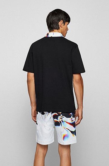 印花衣领宽松 Polo 衫,  001_Black