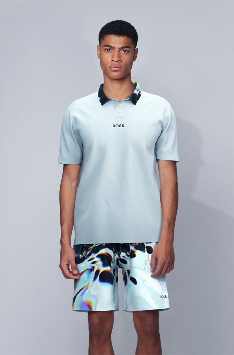 Relaxed-fit polo shirt with printed collar, White
