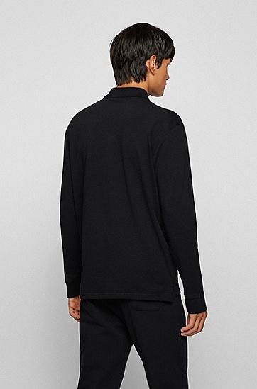 彩色徽标装饰长袖宽松 Polo 衫,  001_Black
