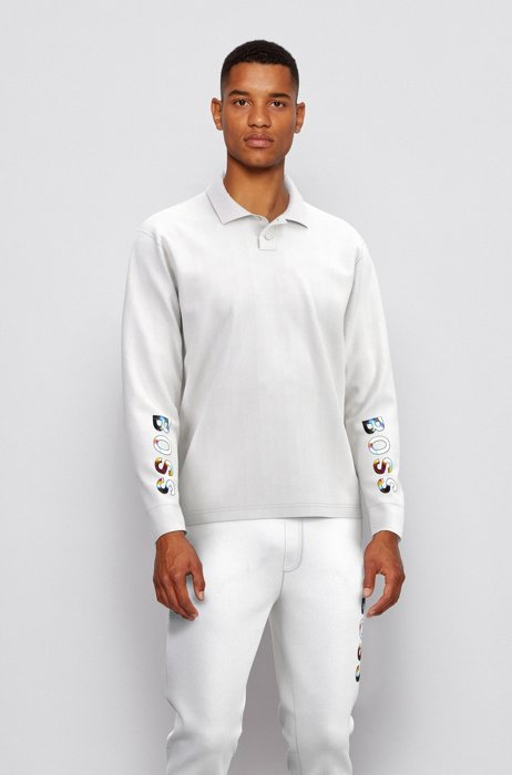 Long-sleeved relaxed-fit polo shirt with colourful logo, White