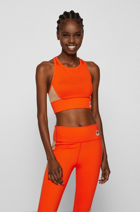 Top aus Jersey in Colour-Block-Optik mit exklusivem Logo, Orange