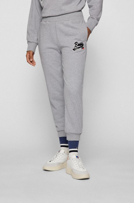 Organic-cotton-blend tracksuit bottoms with logo patch, Silver