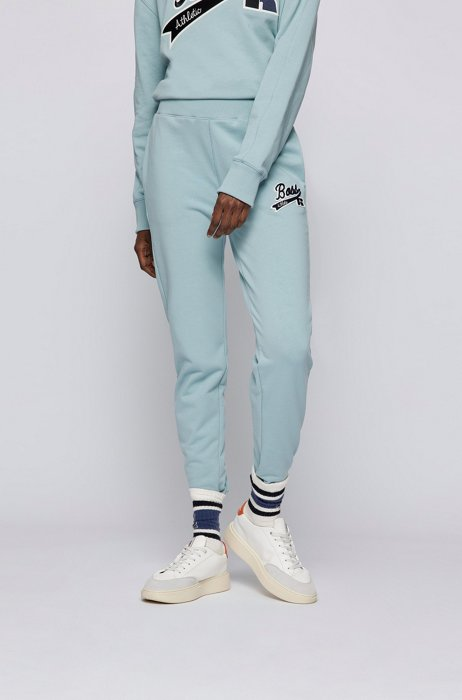 Organic-cotton-blend tracksuit bottoms with logo patch, Turquoise