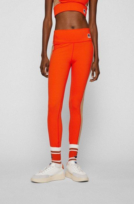 Leggings con bloques de color y logo exclusivo, Naranja