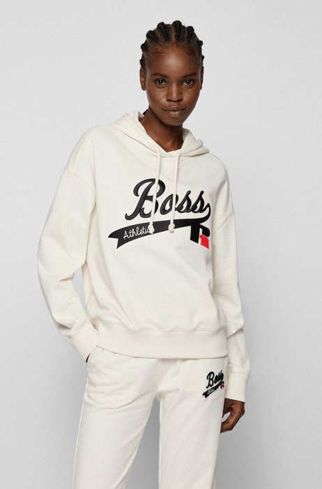 Relaxed-fit hooded sweatshirt with collection logo embroidery, White