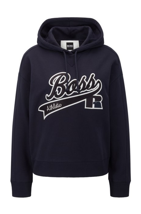 Relaxed-fit hooded sweatshirt with collection logo embroidery, Dark Blue