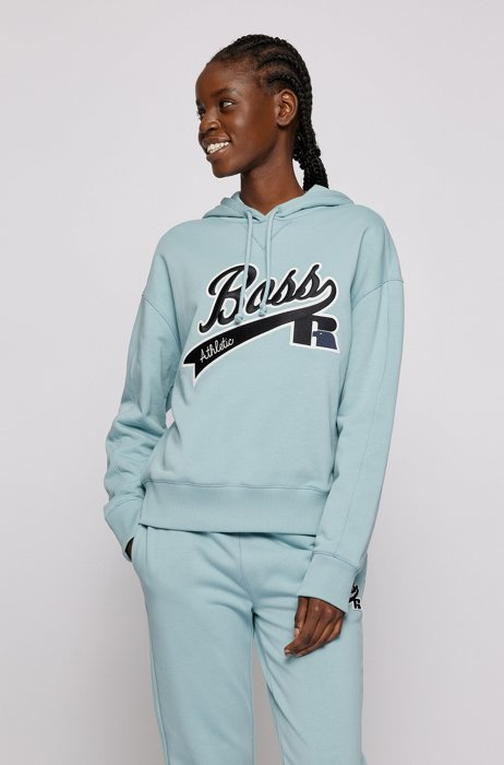 Relaxed-fit hooded sweatshirt with collection logo embroidery, Turquoise
