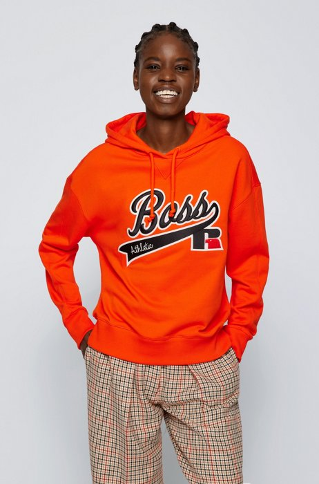 Relaxed-fit hooded sweatshirt with collection logo embroidery, Orange