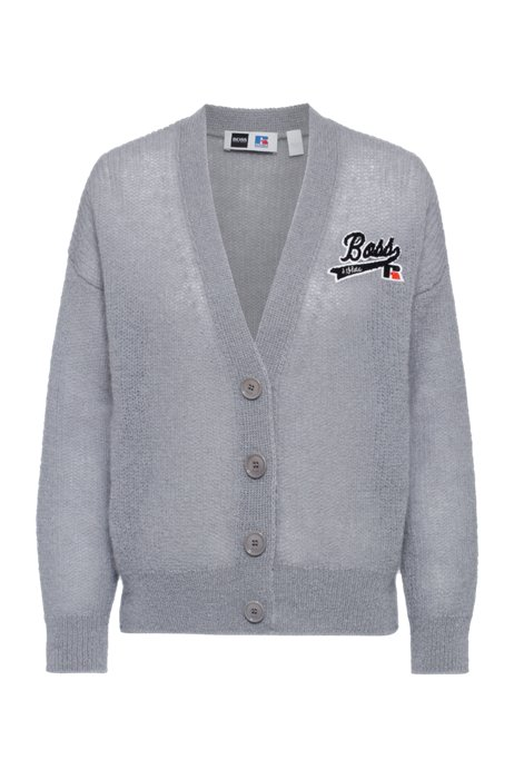 Relaxed-fit cardigan with exclusive logo, Silver