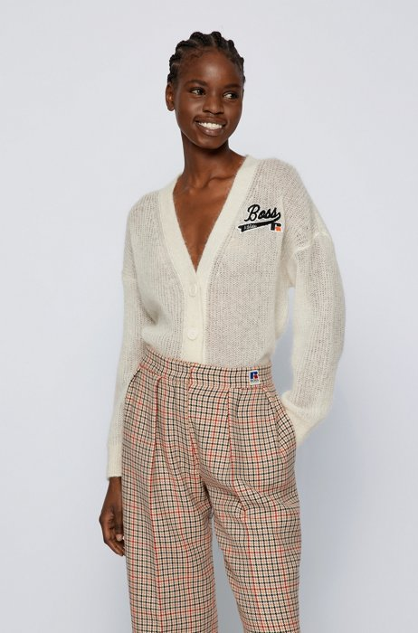 Cardigan Relaxed Fit à logo exclusif, Blanc