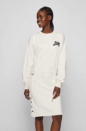 专属徽标装饰棉混纺运动衫式连衣裙,  118_Open White