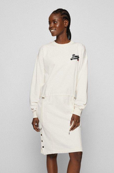Cotton-blend sweatshirt dress with exclusive logo, White