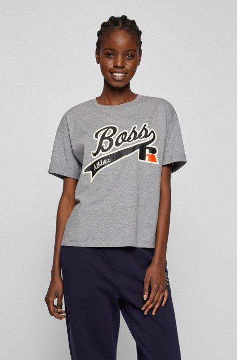 Camiseta relaxed fit en algodón orgánico con logo estampado, Plata