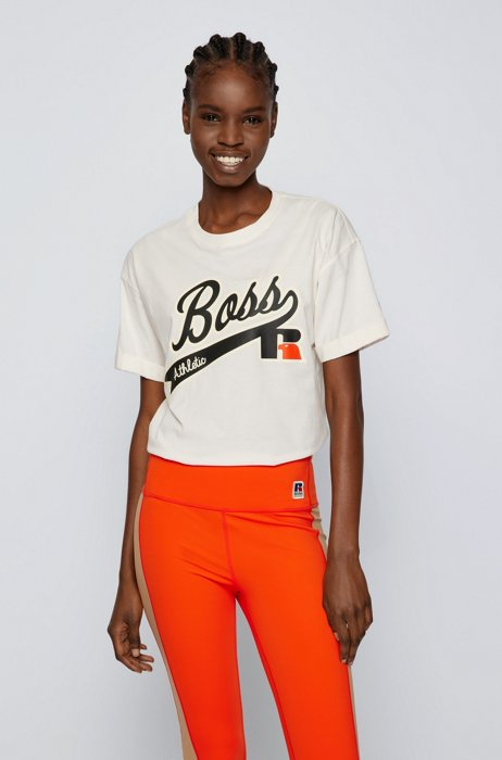 Relaxed-fit T-shirt in organic cotton with logo print, White