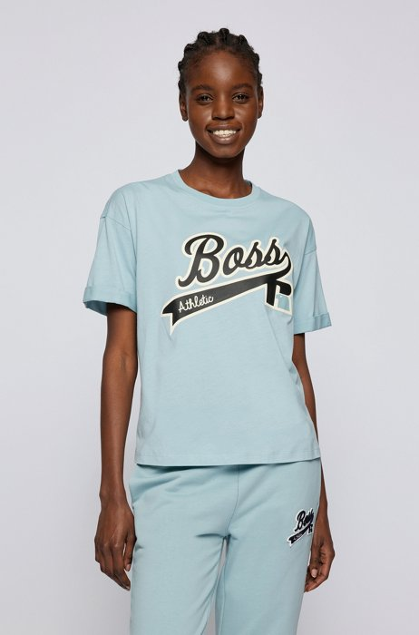 Relaxed-fit T-shirt in organic cotton with logo print, Turquoise