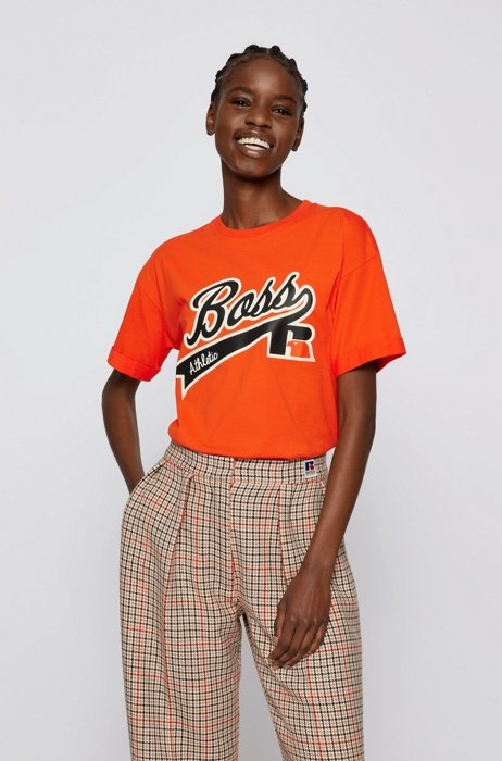 Relaxed-fit T-shirt in organic cotton with logo print, Orange