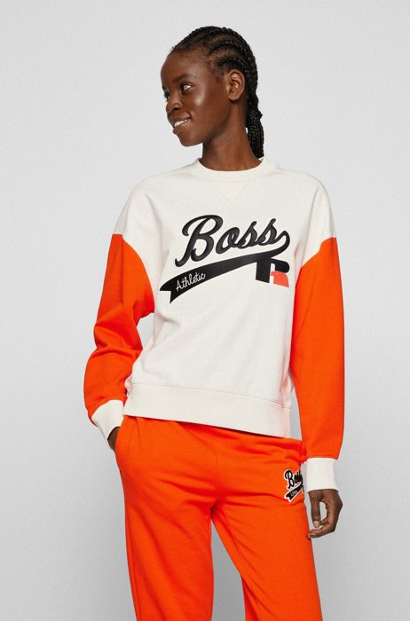 Organic-cotton-blend sweatshirt with collection logo embroidery, White