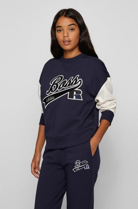 Organic-cotton-blend sweatshirt with collection logo embroidery, Dark Blue