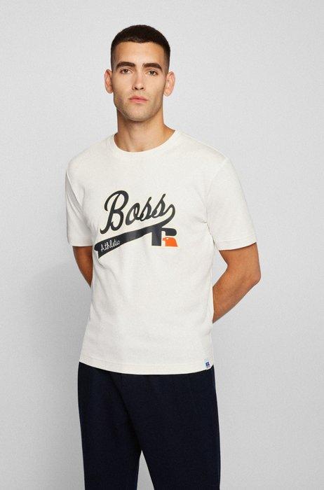 T-shirt relaxed fit in cotone Pima con logo esclusivo, Bianco