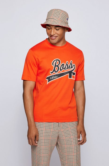 Relaxed-fit T-shirt in Pima cotton with exclusive logo, Orange