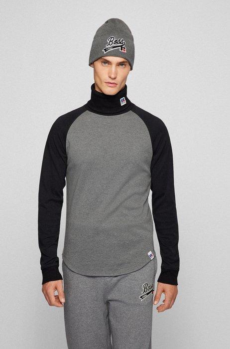 Rollkragen-Longsleeve aus Pima-Baumwolle mit exklusivem Logo, Grau