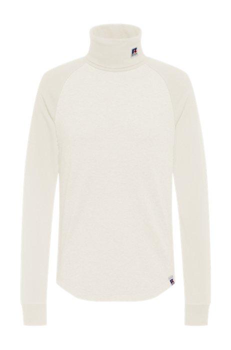 T-shirt van pimakatoen met col en exclusief merkaccent, Wit