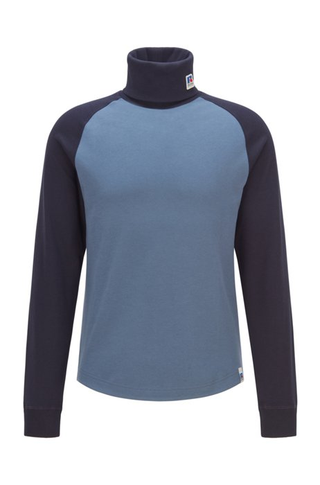 Pima-cotton rollneck T-shirt with exclusive branding, Blue