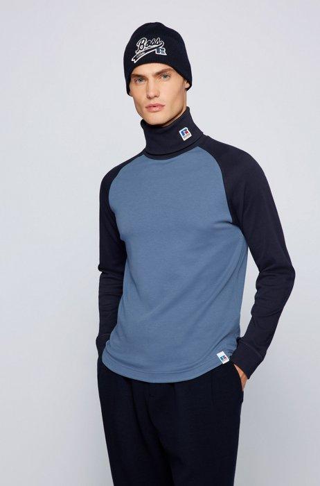 T-shirt van pimakatoen met col en exclusief merkaccent, Blauw