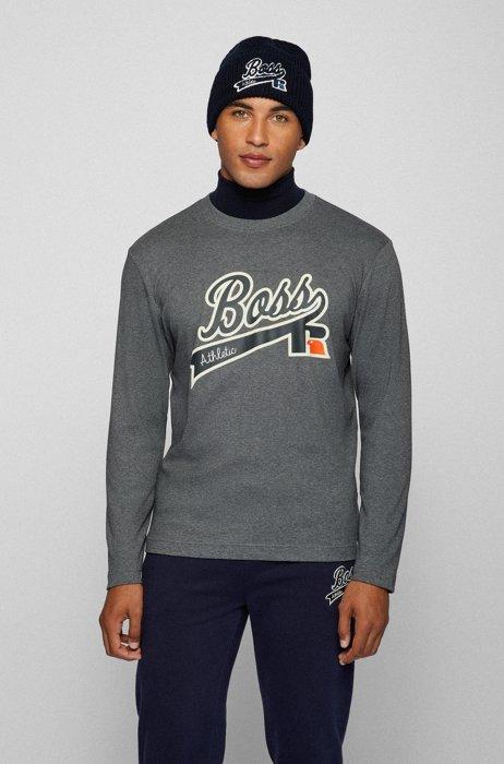 T-shirt à manches longues en coton Pima avec logo exclusif et personnalisation, Gris