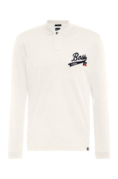 Pima-cotton polo shirt with exclusive logo, White