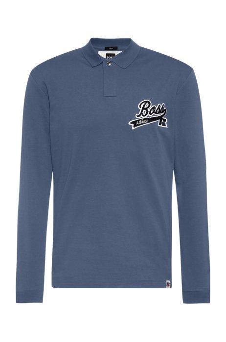 Pima-cotton polo shirt with exclusive logo, Blue