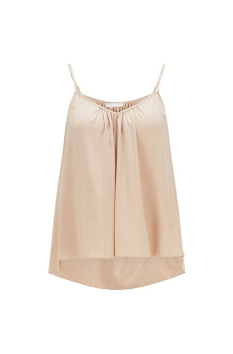 Relaxed-fit pyjama top in satin jacquard, Light Beige