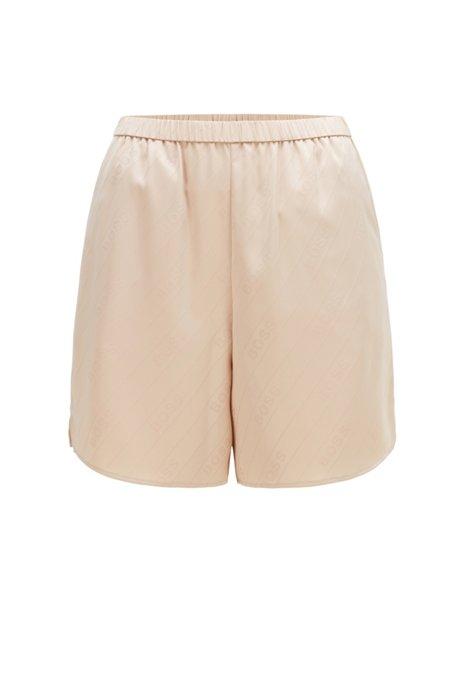 Pyjama-Shorts aus Satin mit Jacquard-Logos und Seitentaschen, Hellbeige