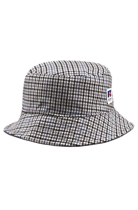 Houndstooth bucket hat with exclusive logo, Grey