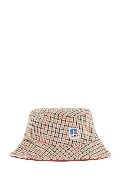 Fischerhut mit Hahnentritt-Muster und exklusivem Logo, Beige gemustert