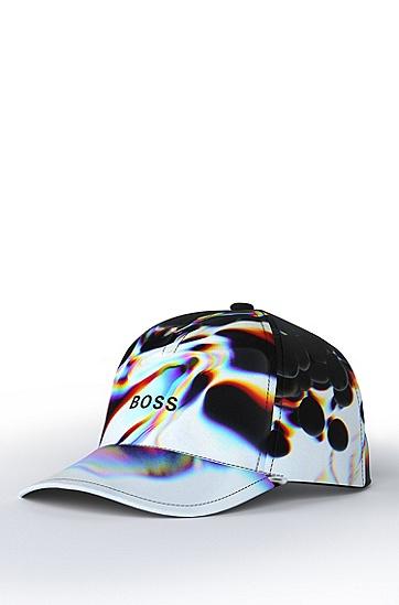 通体抽象艺术图案徽标装饰鸭舌帽,  100_White