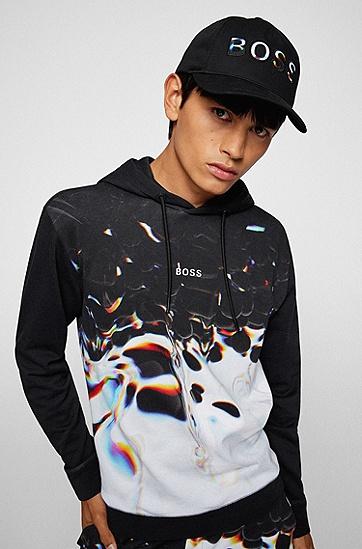 彩色徽标棉质斜纹布鸭舌帽,  001_Black