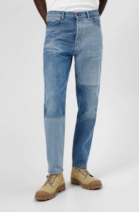 Tapered-Fit Jeans aus aufbereitetem italienischem Denim, Blau