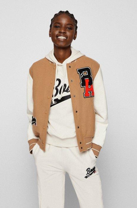 College-Jacke mit Lederärmeln und exklusivem Logo, Beige