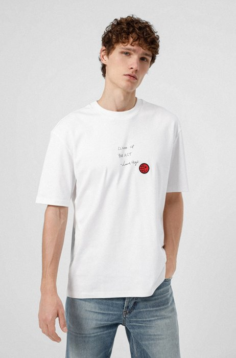 Relaxed-fit slogan T-shirt in interlock cotton, White